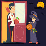 Vintage Happy Smiling Male Vampire Female Witch Stock Image