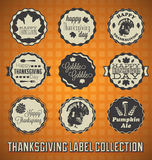Vintage Happy Thanksgiving Day Labels Royalty Free Stock Photography