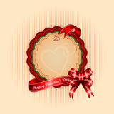 Vintage Happy Valentine's Day background with Happy Valentine's Day text on ribbon Royalty Free Stock Photos