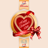 Vintage Happy Valentine's Day background. Because I love text on ribbon;Heart logo By My Valentine and Be mine text Royalty Free Stock Images