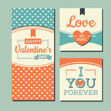 Vintage Happy valentines day cards Royalty Free Stock Image