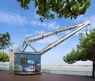 Vintage harbor crane Stock Photo