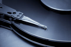 Vintage hard disk detail. Blue toned image Stock Photography