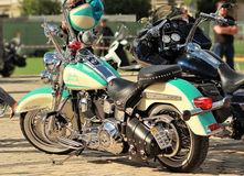 Vintage Harley Davidson motorbike with a matching helmet Royalty Free Stock Photos