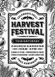 Vintage Harvest Festival Poster Black And White. Royalty Free Stock Images