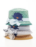Vintage hat. Many Hats of all colors for summer Royalty Free Stock Photos