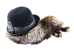 Vintage hat on a silver fox fur Royalty Free Stock Photo