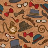 Vintage hats and glasses color seamless pattern Stock Photo