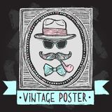 Vintage hats and glasses poster Royalty Free Stock Images
