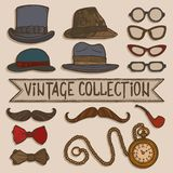 Vintage hats and glasses set Royalty Free Stock Photography