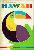 Vintage Hawaii Travel Poster Grunge Parrot. Color retro geometric 1950s 1960s Hawaiian Discover stock illustration