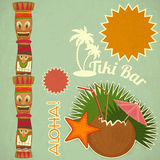 Vintage Hawaiian Tiki postcard Royalty Free Stock Image