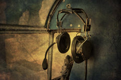 Vintage head phones Stock Photo