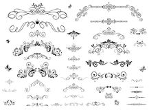 Vintage headers. Collection of vintage floral headers and rulers Stock Image