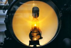 Vintage headlight of old train - spot light isolated. stock photography