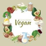 Vintage healthy vegan food. Vector background Stock Image
