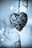 Vintage heart in blue Royalty Free Stock Photography