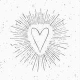 Vintage heart with circle hand drawn ray frames. Royalty Free Stock Photography