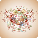 Vintage heart & floral calligraphy ornament Royalty Free Stock Photo