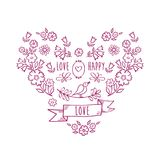 Vintage heart of flowers. Greeting card with hand drawn decorative floral elements. Vintage heart of flowers. Greeting card with hand drawn decorative floral royalty free illustration