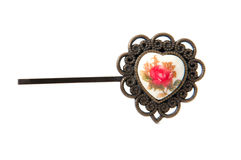 Vintage heart hairpin Stock Photography