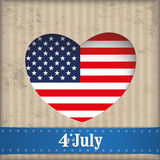 Vintage Heart Hole 4 July US Flag Banner. Vintage independence day background design with brown colors and US-Flag Stock Photography