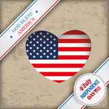 Vintage Heart Hole 4 July US Flag 2 Banners. Vintage independence day background design with brown colors and US-Flag Stock Photos