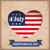 Vintage Heart Hole 4 July US Flag. Vintage independence day background design with brown colors and US-Flag Royalty Free Stock Image