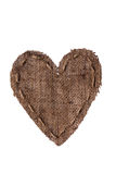 Vintage heart with linen thread. Royalty Free Stock Photography