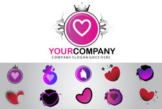 Vintage heart logo design Stock Photography