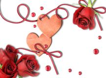 Vintage heart and red roses Royalty Free Stock Photography