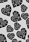 Vintage heart seamless pattern. Abstract mechanical heart . Stock Photo