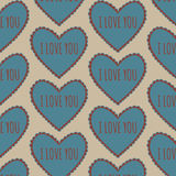 Vintage heart seamless pattern on a beige background Royalty Free Stock Photography