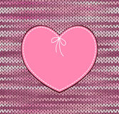 Vintage heart shape with knitted patternrn Royalty Free Stock Image