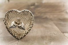 Vintage heart shape jewelry box Stock Photography