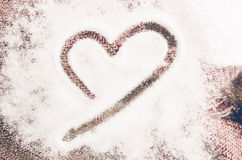 Vintage heart shape on wool, Valentines day love concept Stock Images