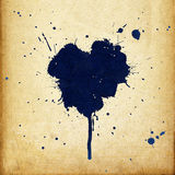 Vintage heart shaped blue ink stains. Royalty Free Stock Photography