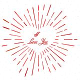 Vintage heart style with text and burst. Firework. I love You. Eps10. Vector illustration.  Royalty Free Stock Image
