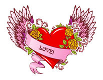 Vintage heart with wings Stock Photos