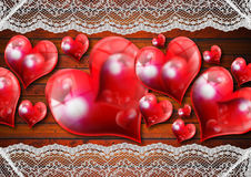Vintage Hearts Background Stock Image