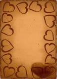 Vintage hearts frame. Grunge recycled heart photo frame Royalty Free Illustration
