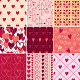 Vintage hearts and love symbols patterns set. Stock Images