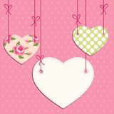 Vintage hearts with roses in shabby chic style with strings. For your decoration stock illustration