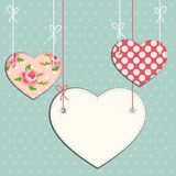 Vintage hearts with roses in shabby chic style with strings. For your decoration royalty free illustration
