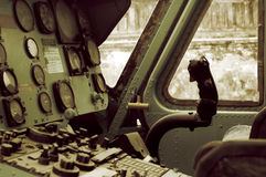The vintage helicopter cockpit Royalty Free Stock Photos