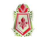 Vintage heraldic emblem created with lily flower royal symbol. B Stock Photography