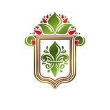Vintage heraldic emblem created with lily flower royal symbol. E Stock Images