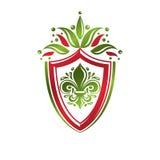 Vintage heraldic emblem created with lily flower royal symbol. E Stock Image
