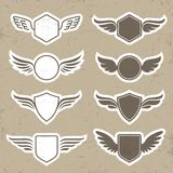 Vintage heraldic shapes with wings Royalty Free Stock Image