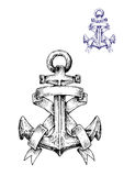 Vintage heraldic sketched anchor with ribbons Stock Photography